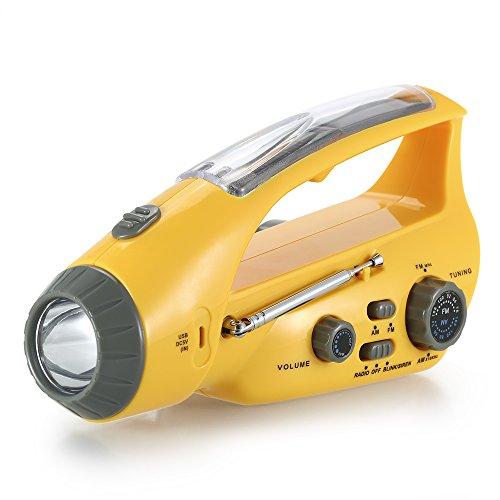 r Taschenlampe LED Handkurbel Dynamo USB Handy Ladegerät Energienbank FM Radio für Camping Klettern Wandern (Taschenlampe Radio)