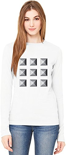 Pyramid Spikes Damen Langarm T-Shirt Long-Sleeve T-shirt For Women| 100% Premium Cotton| DTG Printing| XX-Large (Eagle Hipster Women American)
