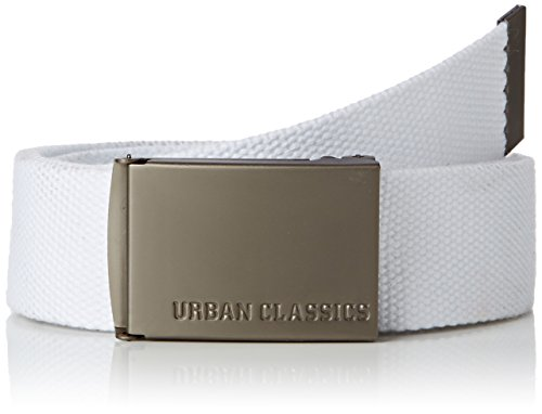 Urban Classics Herren Canvas Belts Gürtel, White, One size