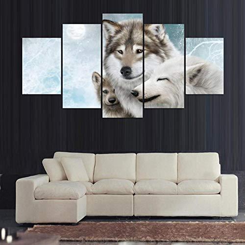 mmwin Moderne HD Wand Auf Leinwand Dekoration 5 Panel Tier Wolf Wohnzimmer Kunst Bilder Gedruckt Cuadros Poster - Der Ringe Komplette Herr Sammlung