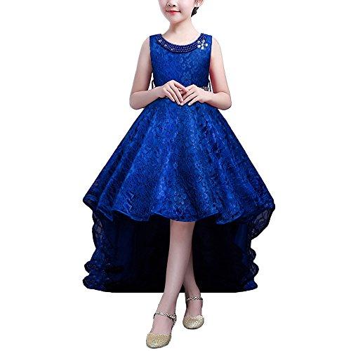 d Lang Brautjungfer Festlich Hochzeit Kleider Abendkleid Blau 160 (Schönes Kleid Mädchen)
