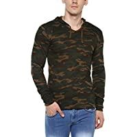 Urbano Fashion Men's Military Camouflage Green Hooded Full Sleeve Cotton T-Shirt (camou-hood-grn-m-01)