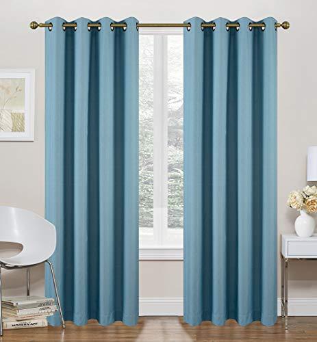Ruthy's Textile Thermo-Vorhänge - 2 x 132,2 x 213,4 cm Paneele mit Ösen Oben - Schaumstoffrückseite, energieeffizient, geräuschreduzierend, verdunkelnd, für Schlafzimmer und Wohnzimmer blaugrün