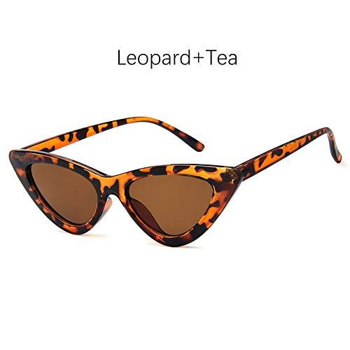 HJL Dreieckige Sonnenbrille, Vintage Cateye Sonnenbrille für Frauen Kunststoffrahmen Verspiegelte Sonnenbrille UV400 Linsenschutz,G