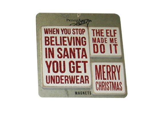 ing in Santa erhalten Sie Unterwäsche, die Elf Made Me Do It, Merry Christmas 3-teiliges Magnet-Set ()