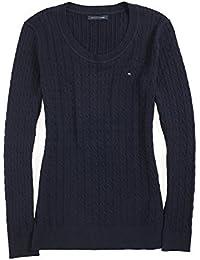 728548e0329e8b Tommy Hilfiger Damen Pulli, Pullover, Cable Knit Sweater, Strick, Blau, Alle