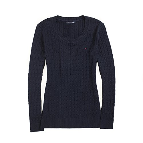 Tommy Hilfiger Cable Knit Pullover (Tommy Hilfiger Damen Pullover, Women's Cable Knit Sweater, Large)