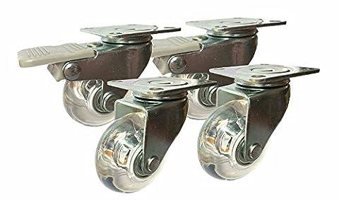 Roulettes pivotantes de 50 mm avec freins pour meubles (jeu de 4) / 2