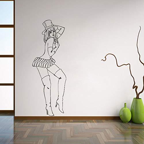 Fushoulu 42X118 CmRetro Pin Up Girl Wandtattoos Schöne Frau Wandaufkleber Für Schlafzimmer Abnehmbare Kunstwandhaupt ()