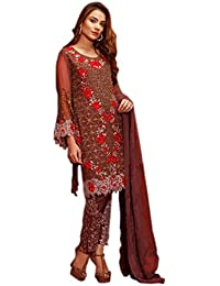 Shoppingover Indian ethnic Eid special Salwar Kameez on Poly Georgette For Women-Brown Color