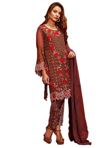 Shoppingover Indian ethnic Eid special Salwar Kameez on Poly Georgette For Women-Brown...