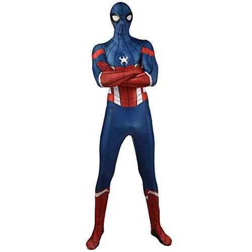 NDHSH Spider-Man Captain America Cosplay Overall Outfit, Kostüm für Erwachsene Kind Halloween Party Kleidung Maskerade Weihnachten Prom Geschenk,Adult-XXL (Captain Weihnachten America)