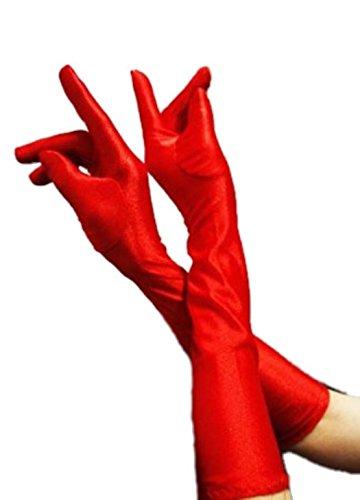 HAAC Handschuhe lang glänzend Farbe rot für Fasching Karneval Party