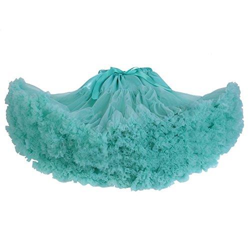 SCFL adulti lussuosa Tutu Petticoat Costume Balletto di ballo multi-strato morbido chiffon sottogonna in tulle tutu delle donne Gonna Gonna Puffy Azzurro