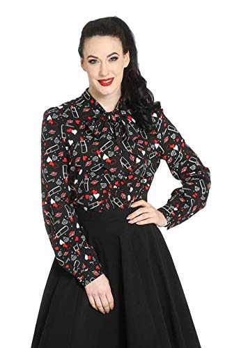 Hell Bunny Bisous Blusa Top Rockabilly Pin Up 1950 Vintage Retro...