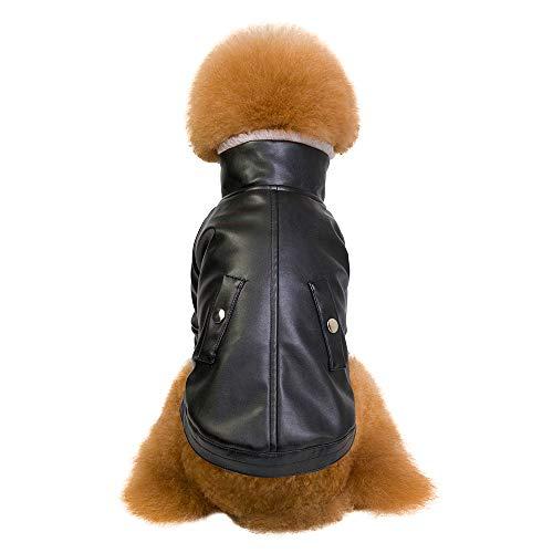 Fenverk Mode GemüTlich Haustier Hund Britisch Stil SAMT Verdickt ReißVerschluss Mantel Windjacke Sicherheit Weste Outfits Jumper Sweatshirt(Schwarz,S)