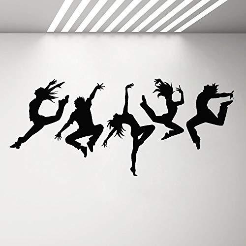 BFMBCH Tanz Action Tanzen Menschen Tanz Kunst Aufkleber Wandvinyl Wandapplikation Silhouette Junge Mädchen Raumdekoration Schlafzimmer Wandaufkleber 36 fuchsia 96X42 CM