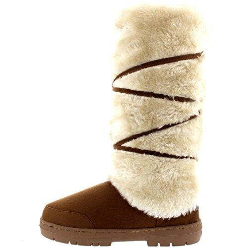 Damen Tall Knee High Fixed Lace Wrap Pelz Gefüttert Winter Schnee Regen Stiefel Tan