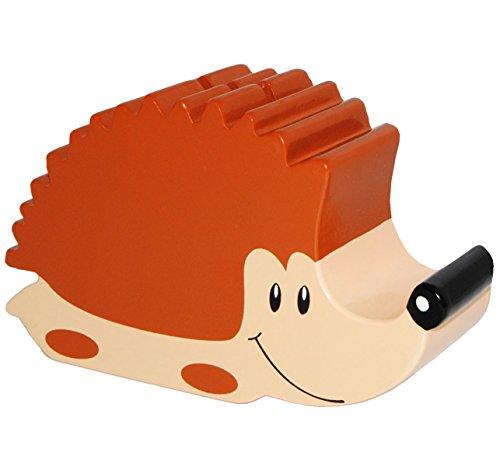 alles-meine.de GmbH große Spardose -  lachender Igel  - aus Holz - stabile Sparbüchse - 19,5 cm - Sparschwein - für Kinder & Erwachsene / lustig witzig - Kinderspardose - Baby ..
