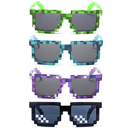 kilofly Sonnenbrille, 8-Bit Pixel, UV-Schutz, für Erwachsene, Kinder, Partyzubehör, 4 Stück