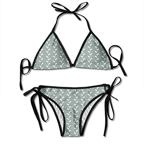 Natur Classic Thong (MIOMIOK Adjustable Bikini Set Halter Ladies Swimming Costume, Vintage Classic Wavy Branches with Leaves Vertical Lines Nature Themed,Halter Beach Bathing Swimwear)