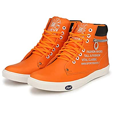 Believe High Top Sneakers for Men Orange Shoes (Size_6)