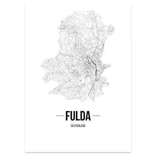 JUNIWORDS Stadtposter, Fulda, Wähle eine Größe, 21 x 30 cm, Poster, Schrift B, Weiß