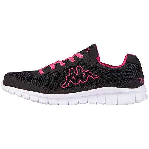 Kappa ROCKET Low Top | Sneakers für Sport & Freizeit | angesagter Kappa-Style für Modebewusste Damen & Herren | atmungsaktiv & stabil | hoher Tragekomfort | Schwarz (1127 Black/L`pink), Größe 37 EU