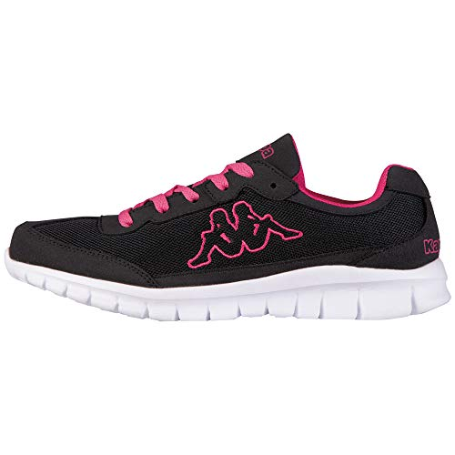 Kappa Unisex-Erwachsene Rocket Low-Top Sneaker,Schwarz (1127 BLACK/L`PINK),36 EU