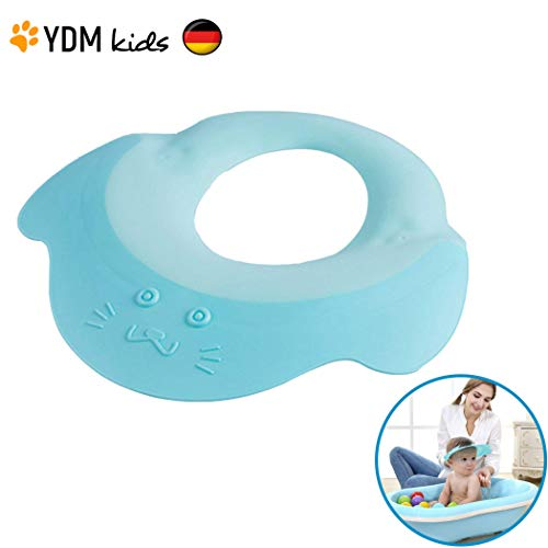 Kinder Shampoo Schutz - Haare waschen ohne Tränen, für 0 - 9 Jahre, zum Überstülpen, 100% wasserdicht, Haarwaschhilfe mit Augenschutz und Ohrenschutz, elastisches Material, zertifiziert blau