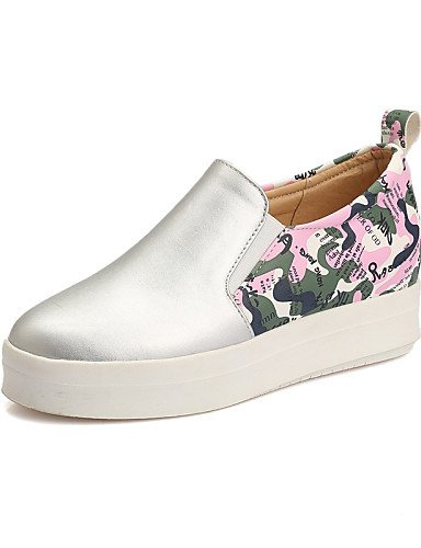 ZQ gyht Scarpe Donna-Mocassini-Casual-Punta arrotondata-Piatto-Finta pelle-Bianco / Argento / Dorato , white-us5.5 / eu36 / uk3.5 / cn35 , white-us5.5 / eu36 / uk3.5 / cn35 white-us5.5 / eu36 / uk3.5 / cn35