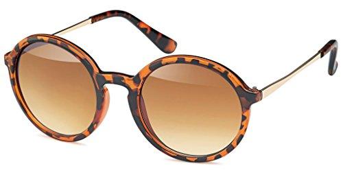 UVprotect unisex Retro Style Rundbrille havanna W69-4