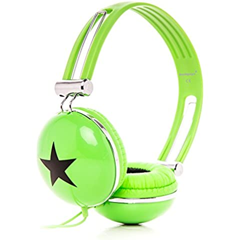 RockPapa OV820S DJ Cuffie per Bambini / Adulti, Regolabile, Over-Ear per Smartphone, Tablet, MP3/4, DVD, iPod, iPad, iPhone Verde