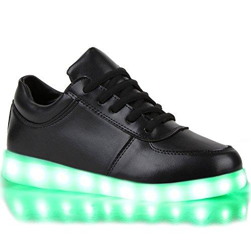 Sofort lieferbar aus DE - Leuchtende und Blinkende Damen Herren Kinder Mädchen Jungen Sneakers High und Low Led Light Farbwechsel Schuhe LED Licht Schwarz Schwarz