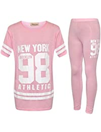 7bd31741aa4 ZET Kids Plain Tracksuit Girls Lounge Wear Newyork 98 Jogger Sportswear UK  2-13 Years