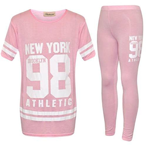 New Kids Plain Tracksuit Girls Lounge Wear Newyork 98 Jogger Sportswear UK 2-13 Years (7-8 Years, Baby Pink)