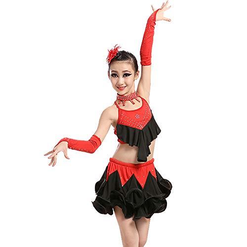 Kostüm Zeitgenössische Für Tanz - GOWE Schöne Mädchen Latin Dance Kleid Tutu Rock Rüschen ärmellos 2 Stück Top/Rock - Lyrische Moderne Zeitgenössische Gymnastik Tanz Performance Wettbewerb Gesellschaftstanz Kostüme, Rot/110