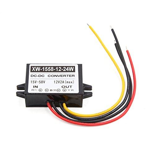 sourcing map Convertisseur 24W transformateur d'inverseur d'alimentation de Voiture de 15-58V à 12V DC-DC 2A