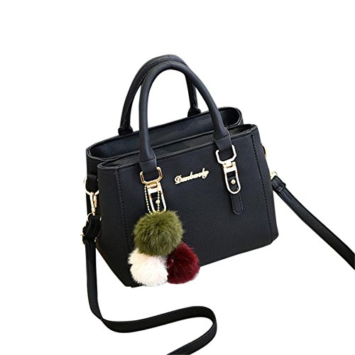 Modische Damen Messenger Bags BURFLY Damen Leder Handtasche Schultertasche Messenger Satchel Schulter Crossbodies Taschen (Schwarz) (Handle Handtasche Schulter)