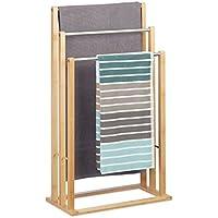 Relaxdays Handtuchhalter stehend mit 3 Handtuchstangen, Handtuchständer 3-armig für Bad, Bambus, HBT: 84x48x26 cm, natur