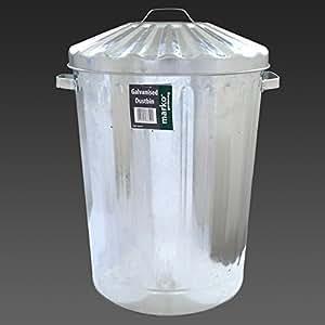 Large 90L Galvanised Metal Bin Rubbish Waste Dustbin Animal Feed Storage Litre LTR