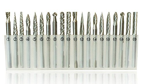 HI-BOOM 3mm Shank Tungsten Steel Solid Carbide Rotary Files Diamond Burrs Set Fits Dremel Tool for Woodworking Drilling Carving Engraving(20PCS) by HI-BOOM