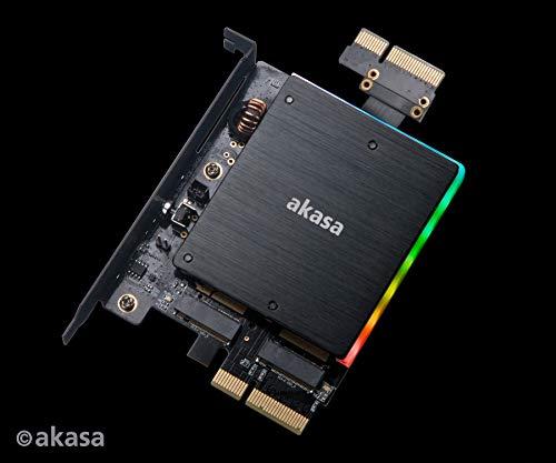 Akasa AK-PCCM2P-04 Dual M 2 PCIe SSD Adaptador de Tarjeta con iluminación  LED RGB y disipador de Calor :: (>)