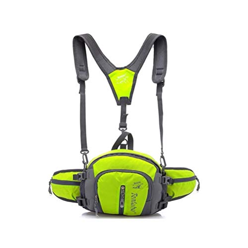 CLEAR-S TANLUHU Hiking Daypack Water Resistant Waist Pack with Water Bottle(Not Included) Holder Running Belt Bag Pouch Fanny Pack for Hiking (Green) -