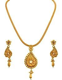 JFL - Traditional Ethnic One Gram Gold Plated Spiral Diamond Designer Pendant Set For Women And Girls