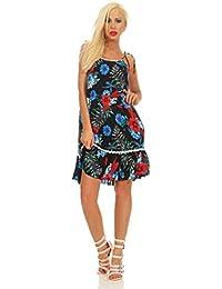 5440 Fashion4Young Casual Damen Kleid Knielanges Sommerkleid Volants Blumen Strandkleid