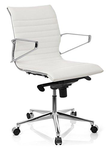 hjh OFFICE 720028 chaise de bureau, siège pivotant PARIBA blanc en cuir avec accoudoirs, dossier ergonomique, design moderne et élégant, piètement robuste et stable, surpiqûres horizontales