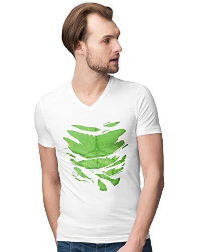 BLAK TEE Herren The Increadible Big Green Man Super Hero Chest Under Torn V-Neck T-Shirt L -