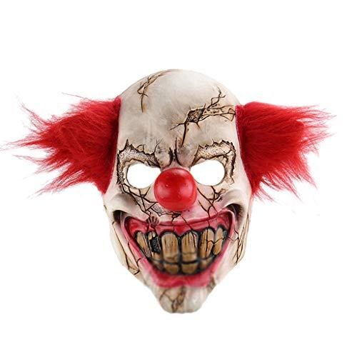 QWEASZER Bar Teufel Clown Maske Room Escape Requisiten Horror Latex Kopfbedeckung Haunted House Zombie Maske Halloween Kostümpartys Maskeraden Terror Theme Party,A-OneSize (Clown Maske Teufel)