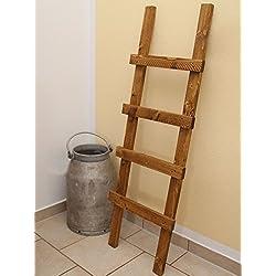 Escalera decorativa, toallero, vintage (madera), medidas de 118 x 39 x 5 cm, marrón claro